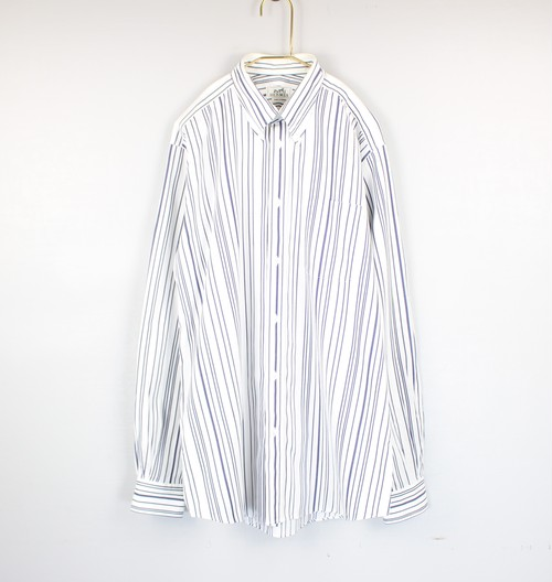 .HERMES SERIE BUTTON STRIPE PATTERNED LONG SLEEVE SHIRT MADE IN FRANCE/エルメスセリエボタンストライプ柄長袖シャツ 2000000042923