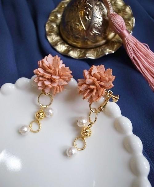ロマンティックブーケ ピンク 2wayイヤリング