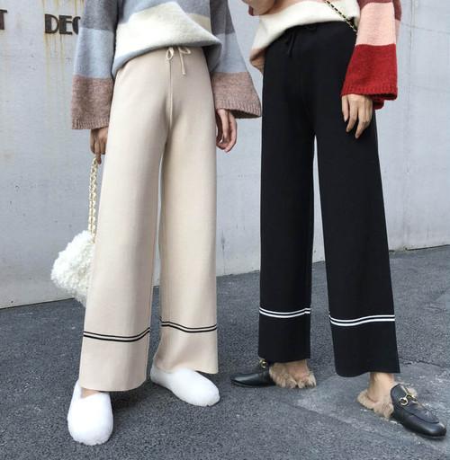 【送料無料】 大人カジュアルパンツ♡ ライン入り リラックス ニット ワイドパンツ ズボン ハイウエスト