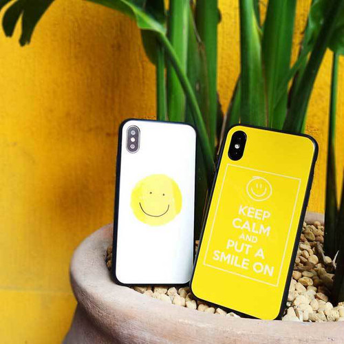 スマイル ポップ 可愛い iPhone シェルカバーケース ホワイト イエロー ビタミンカラー シンプル ★ iPhone 6 / 6s / 6Plus / 6sPlus / 7 / 7Plus / 8 / 8Plus / X ★ [MD448]