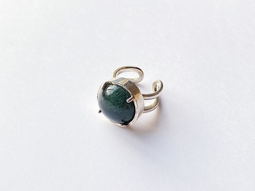 planet ring -moss agate-