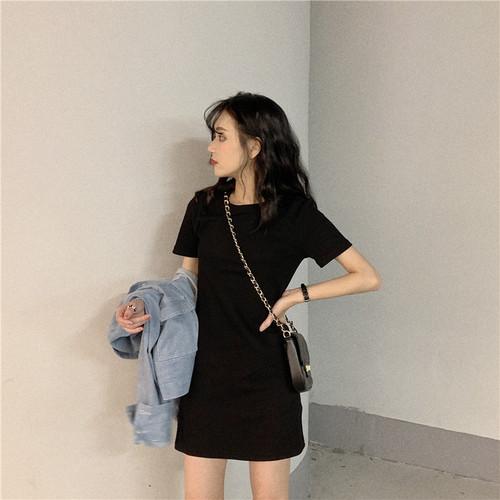 夏韓国ワンピースシンプル着やせ半袖ラウンドネックワンピース