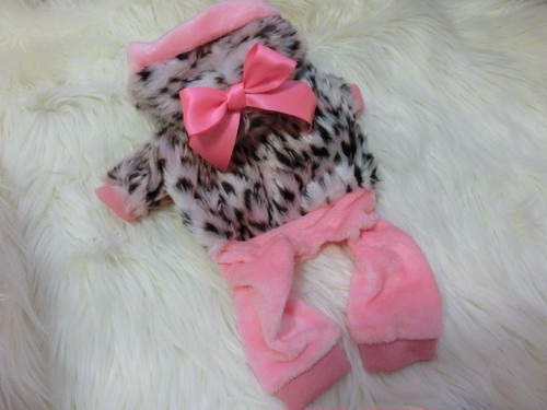 ★かわいい犬服ワンピ/ドレス  ピンクリボンアニマルロンパース