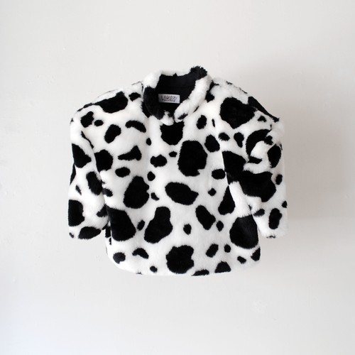 Lactose Intoler-art(ラクトス) 1off fake fur power shoulder top