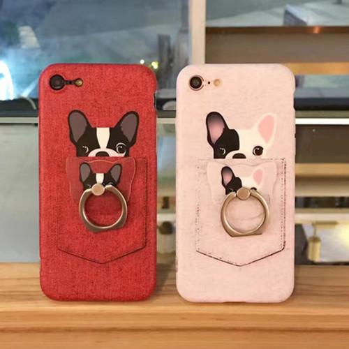 [KS052] ★ iPhone 6 / 6s / 6Plus / 6sPlus / 7 / 7Plus ★ シェル型 ケース ( レッド / ホワイト ) ひょっこり 顔を出す ポケットイン フレンチブルドッグ が かわいい バンカー リング 付き iPhoneケース