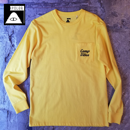 POLeR OUTDOOR STUFF ポーラー CAMP VIBES POCKET L/S TEE イエロー