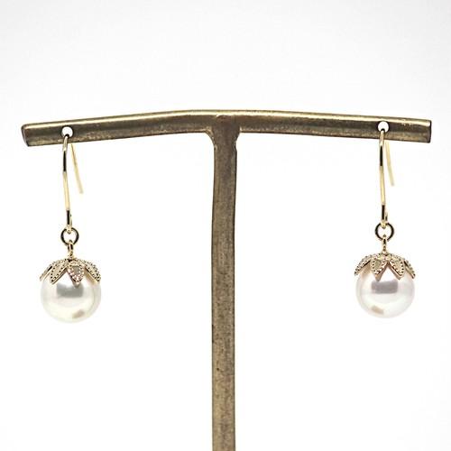 9.25㎜!8.75㎜!あこや本真珠の木の実のピアスAG