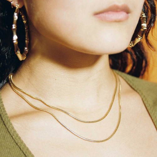【SET1-2】gold filled chain necklace set - 2 pairs