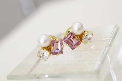 pink×crystal×cottonpearl ピアス