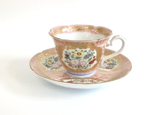 錦ピンク ベルサイユ コーヒー碗皿