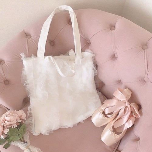 Tulle frill tote bag