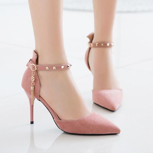 【シューズ】上品ファッションポインテッドトゥリベットハイヒールパンプス21826332