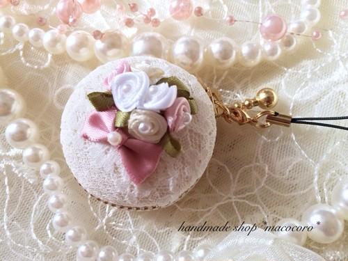 ローズブーケのマカロンケース/pink