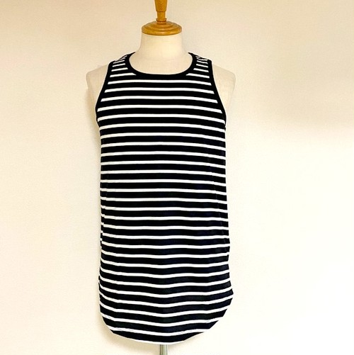 Long Length Tank Top(round model) Black / White
