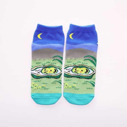 靴下 レディース/ブルー 【そらまめくんのベッド】【絵本のくつした】