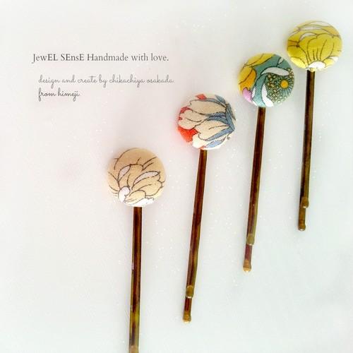 kurumi button hair pins -yellow-