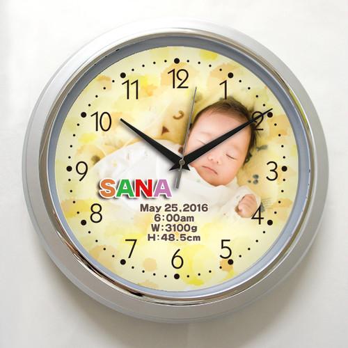 写真でつくる壁掛け時計 「シルバー枠壁掛け時計」 オリジナル  オーダーメイド 時計