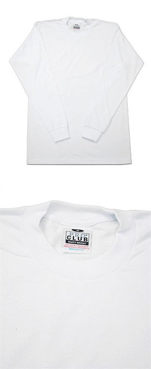 PROCLUB L/S PLAIN Tee HEAVY WEIGHT WHITE