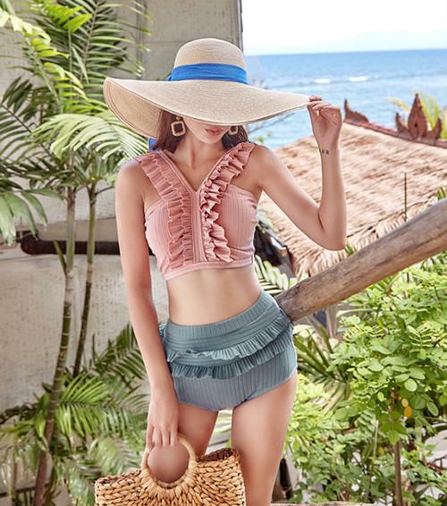 水着 ビキニ レディース フリル ハイウエスト バイカラー 体型カバー 着痩せ ガーリー 韓国 オルチャン ファッション