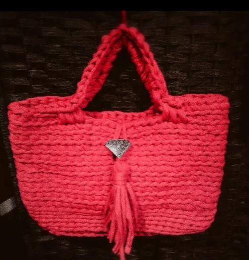 手編み オルテガバッグ ズパゲッティ  トートバッグ タッセル コンチョバッグ