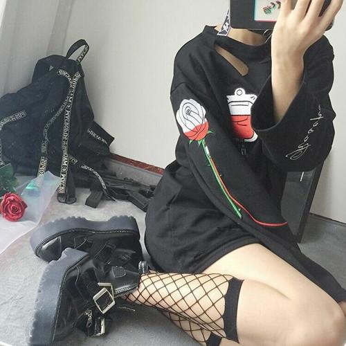 病みかわいい ゴスロリ 黒シャツ CRAZYGIRL ハードガール 薔薇 点滴 病み深い 黒 原宿系 10代 20代