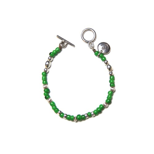 STEADY HIGH/ステディハイ White heart beads bracelet/Green