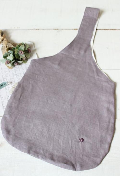 ワンハンドルバッグ*カラーリネン スモークパープル お花の刺繍/LePetitMarche