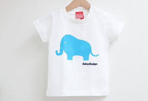 ぞうプリントTシャツ ホワイト
