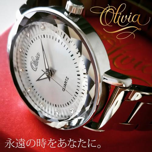 オリヴィア・クォンタイム腕時計(ピンクゴールド・シルバー)
