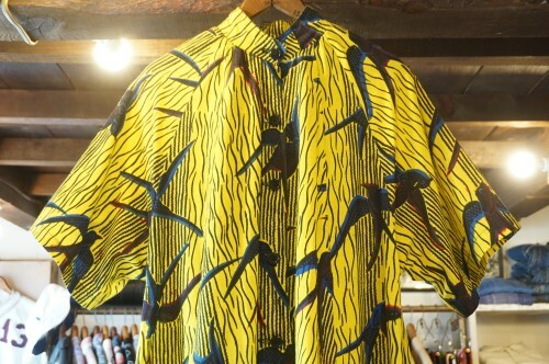 60's vivid yellow swallow printed A-line Dress