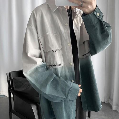 ユニーク配色フロントポケットシャツ BL4413