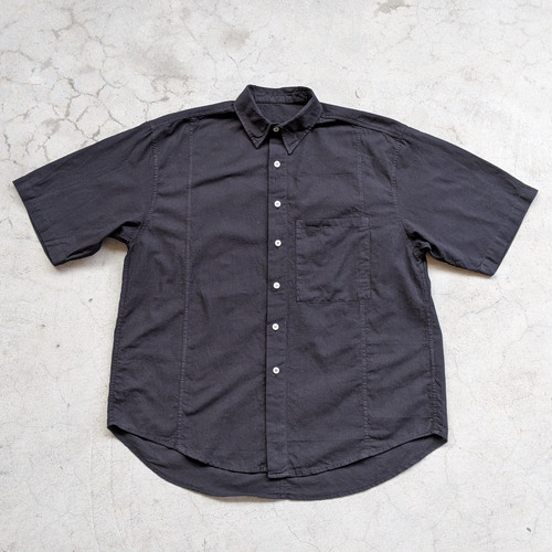 "<OSOCU> Chita-momen ""Chirimen"" short sleeve shirt black dye"