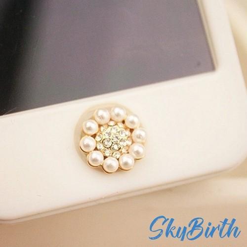 iphoneホームボタンパールフラワービジューシール  skbt0941