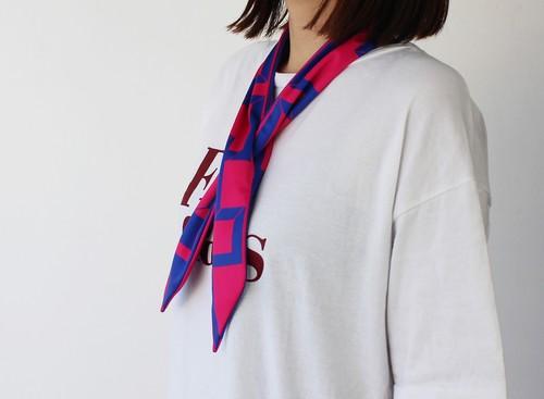 % PERCENT クール スカーフ(ピンク・ネイビー)濡らして冷んやりクールスカーフ 固定穴付き 熱中症対策 手首 ヘッドアクセ