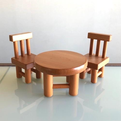 ごっこのイスと丸テーブル(展示品)国産カツラ材