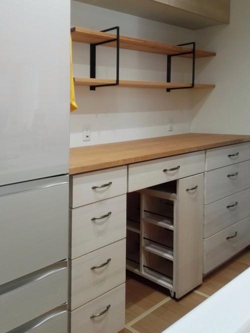 スパイスワゴン付き ホワイト薄塗り キッチンカウンター