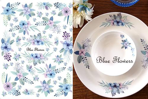 水彩 ブルーフラワー BlueFlours A4サイズ(ポーセラーツ用転写紙)