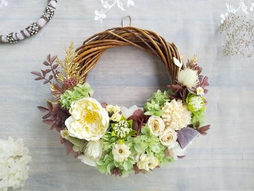 Lune Bonheur <Vert brun>*ハーフムーンリース*プリザーブドフラワー*リース*お花*ギフト*結婚祝い*記念日*お誕生日*新築祝い*秋の新作