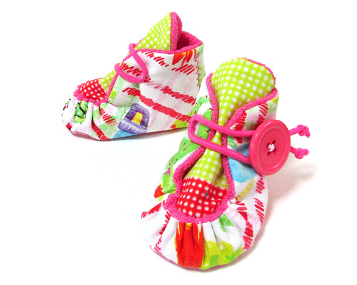 パイルベビーブーティ/10cm 濃いピンク×サボテン(サイズオーダー可) ファーストシューズ 出産祝い