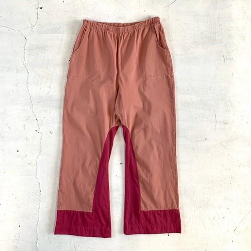 Cotton color wide pants / A