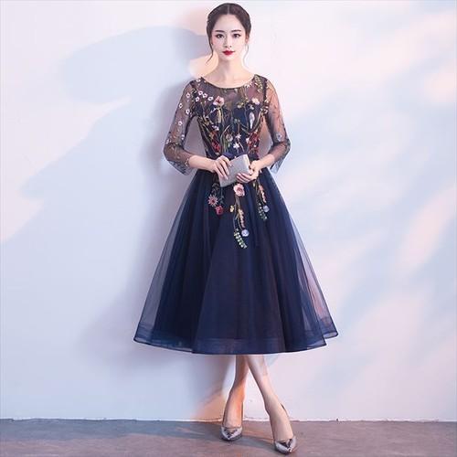 219e46479e138  即納 パーティードレス ワンピース ドレス ワンピ オーガンジー シースルー 花柄 刺繍 ネイビー ワンピース 7