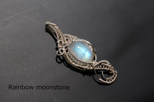 Rainbowmoonstone silver925 wirewrapping pendant