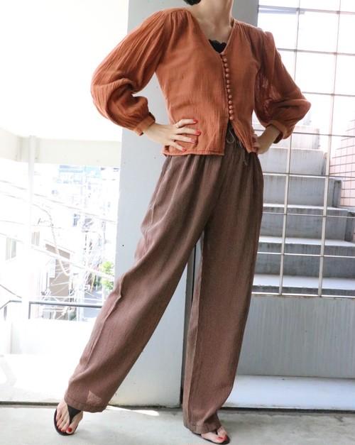 brown check easy pants