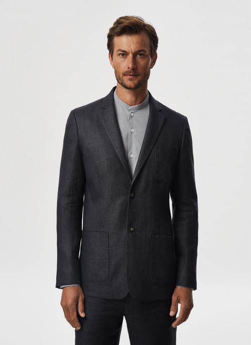 LINEN TWILL JACKET WITH NOTCHED LAPELS