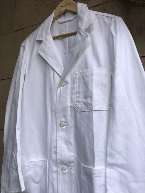 Deadstock British NHS cotton drill white coat