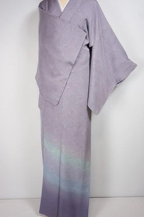 未使用 墨流し染め やまと誂製 付下げ 正絹 藤色 紫 433