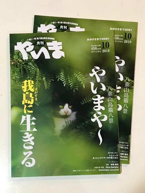 仲程長治監督による島猫特集「月刊 やいま」10月号-八重山の情報誌