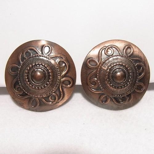 銅製の大ぶりラウンドイヤリング  ヴィンテージアクセサリーのセール通販 5904E