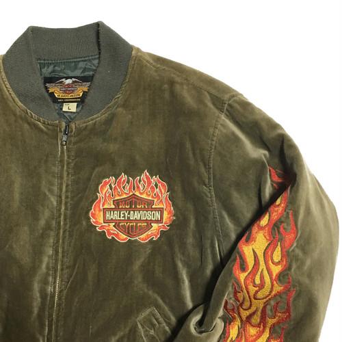 00's Harley-Davidson ファイアーパターン刺繍 ブルゾン
