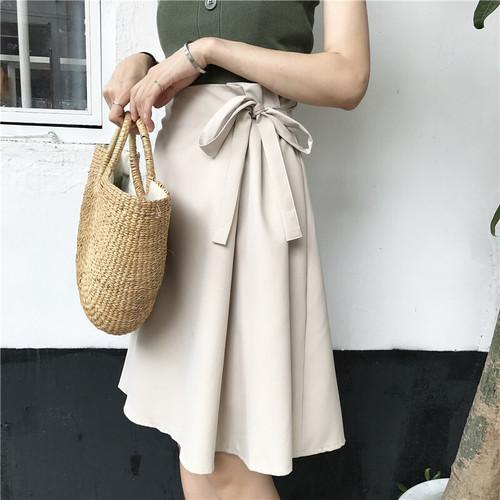 2color サイドリボン 膝丈 ラップ スカート デート レディース ファッション 韓国 オルチャン